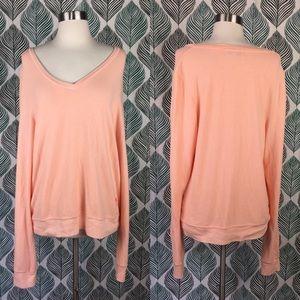 Wildfox V Neck Peach Orange Pullover Sweatshirt